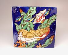 "Hand Painted Ceramic Mermaid Trivet Decorative Tile 8"" Sq Tropical Fish Coral"