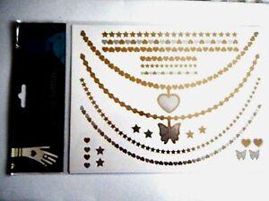 Metallic Temporary Tattoos Gold Silver Hearts Stars Butterflies 2 Sheets New