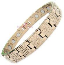 Rose Gold Magnetic Therapy Bio Energy Bracelet Power Health Arthritis Wristband
