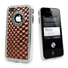 Brown Bling Diamond Croc Skin Case Cover Back For Apple iPhone 4S 4G 4 & Film