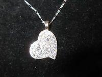 Statement Necklace Crystal Rhinestone Cute Heart Pendant Silver Tone Shiny Love