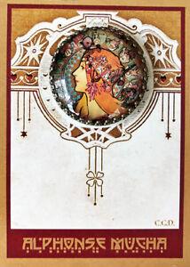 ZODIAC ~ LA PLUME  Glass Dome Filigree Shank BUTTON CARD Vintage MUCHA ART 30mm