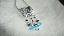 Swiss Blue Topaz and Blue Sapphire Silver Pendant