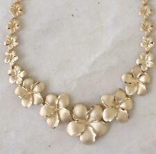 "14 Karat Gold Diamond Cut Plumeria Flower Necklace ,17"""