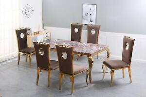 Brown Marble Top Dining Table Golden legs 6 chair with Brown  Plush fabric set