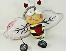 "FLUTTERING FRIENDS   Happy Heart Bee - Spring Danglers fun bugs soft 7"" Wingspan"