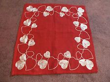 "Collectible Table Linen Red White Heart Machine Stitching 16"" Signature Styles"