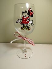 Hand Painted Glass MINNIE MOUSE RED DRESS  Stemware, Wine Glass 12 oz.