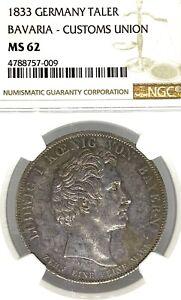 German States Bavaria 1833 Taler Coin Thaler NGC MS 62 VZ/F.STG UNC Custom Union