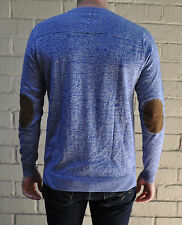 Vanishing Elephant Blue Grey Cotton Knit V-Neck Pullover Sweater L