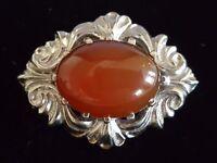 Sterling silver & orange agate vintage Art Deco antique oval brooch