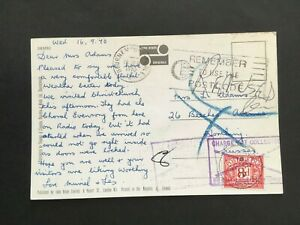 """GB 1970 BOXED """"CHARGE NOT COLLECTED...."""" ETC CACHET ON 8d POSTAGE DUE POSTCARD"""