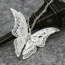 Women Silver Plated Openwork Butterfly Necklace Pendant Jewelry Gift Wholesale