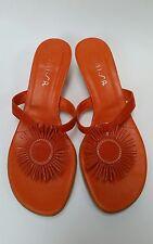 Unisa Shoes Sandals Kitten Heels Orange Spain Manana Womens Size 6.5 B