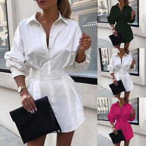Womens Sexy Shirt Dress Ladies Long Sleeve Button Slim Waist Solid Dresses 10-18