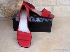 Mootsies Tootsies Mabel Red Leather Stretch Fabric Slip On Sandals 6M NIB