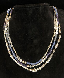 NAKAMOL HAND CRAFTED MULTI STRAND PEARL & CRYSTAL NECKLACE SKU120721P