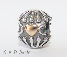 Pandora Genuine Sterling Silver & 14ct Gold Hatched Heart Charm #790430- RETIRED