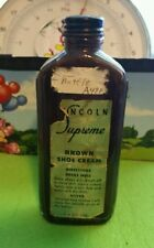Lincoln Supreme Brown Shoe Creme Bottle Vintage Collectible