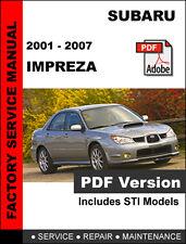 SUBARU IMPREZA 2001 - 2007 FACTORY SERVICE REPAIR SHOP MANUAL + WIRING DIAGRAM