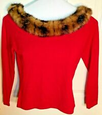 """Style & Co. Petite Women's Red Sweater W/ Faux Fur Collar 3/4"""" Sleeve PS"""
