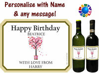 PERSONALISED WINE BOTTLE LABEL - ANY MESSAGE AND NAME - PERFECT FOR WINE LOVERS