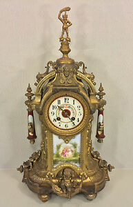 Antique AD Mougin Ormulu Rococo Style Mantel Clock Runs Strikes France