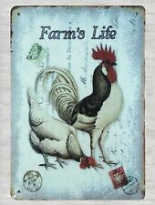 retro home decor Farm's Life rooster chicken animal tin metal sign