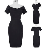 50'S Vintage Style Ladies Evening Pencil Wiggle Cocktail Party Black Retro Dress