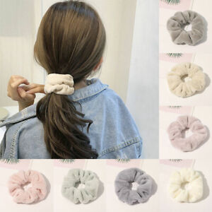 Faux Rabbit Fur Simple Plain Scrunchie Women Sports Ponytail Hair Ring Rope Band