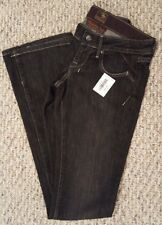 Black Denim Brown Label Prancer Bootcut Low Rise Jean Dark Stretch FREE Shipping