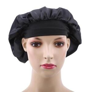 Bonnet Wide Band Satin Cap Hair Loss Chemo Night Sleep Hat Elastic Head Wraps T