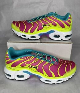 Nike Air Max Plus Volt Green Pink Blast Shoes CW5840-700 Youth 7Y Women's 8.5