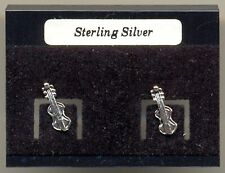 Violin Sterling Silver 925 Studs Earrings Carded