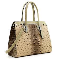 New Women Ostrich Leather Handbag Briefcase Satchel Tote Bag Shoulder Bag Purse