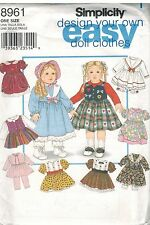 """8961 Vintage Simplicity Sewing Pattern Easy Design Own 18"""" Doll Clothes Dress"""