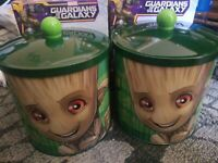 NIB two (2) Marvel Comics Baby Groot Decorative Canisters ~ Great Gift ~ Import