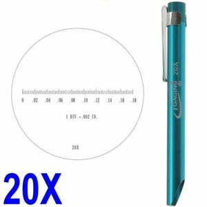 """Pocket Magnifier Microscope 20X Reticle Scale 0-0.18"""" 0.190"""" FOV iGaging"""