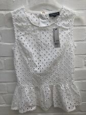 BNWT Warehouse Peplum Top White Size 8 Broderie Anglaise Summer Festival Party