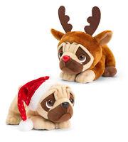 Keel Toys Christmas Pugsley Plush Soft Musical Pug Dog Toy Gift Santa Rudolph