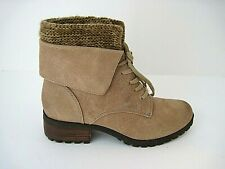 LUCKY BRAND Huntress Lace Up Ankle Boots Tan w/ knit collar Size 6 M/ EU 36