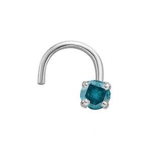 20 Gauge 14K White Gold Curved Prong 0.02 Cttw Blue Diamond Nose Stud