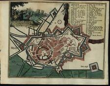 Bergues France city plan Harrewyn 1720 miniautre urban plan antique map
