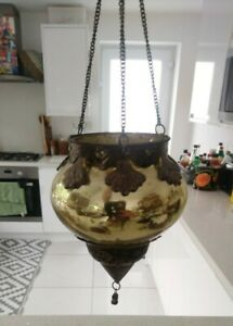 Moroccan Style Gold Glass Hanging Tealight Votive Candle Holder