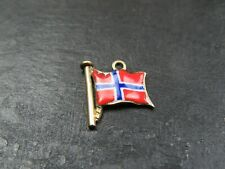 RARE VINTAGE 9ct GOLD ENAMEL FLAG OF NORWAY PENDANT CHARM C.1950