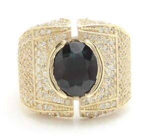 5.50 Carat Natural Sapphire and Diamonds in 14K Solid Yellow Gold Men's Ring