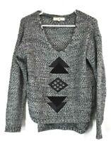 Altar'd State Women Gray Asymmetric Long Sleeve Arrow Patch Crochet Sweater M
