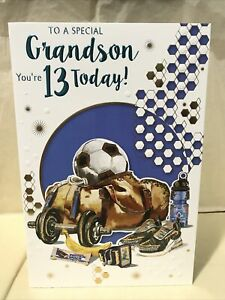 Special Grandson 13th Birthday Greeting Card