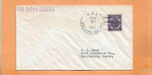 U.S.S. ZELLARS MAR 26,1947 NAVAL COVER