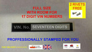 STAMPED FOR YOU Chassis VIN plate for lambretta vespa quad bike boat car ID